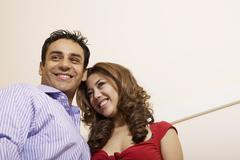 Low angle view of Multi-ethnic couple Stock Photos