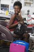 African woman with shopping bags Stock Photos