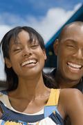 Hispanic couple laughing Stock Photos