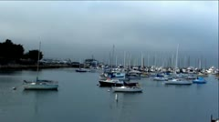 Boats in Monterey Bay Marina - Cloudy Evening Stock Footage
