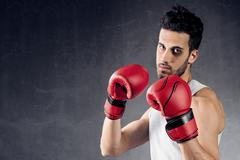 Boxer with black eye Stock Photos