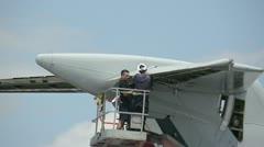 Jet airplane maintenance - stock footage