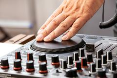 Dj is scratching Stock Photos