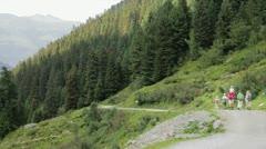 Family in mountain Trekking Stock Footage