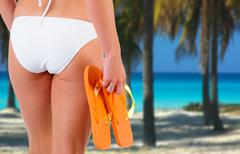 Anonymous Woman Wearing A White Bikini On A Caribbean Beach Stock Photos