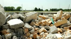 Left over pieces of Demolished Building Stock Footage