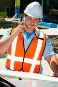 surveyor cellphone - stock photo