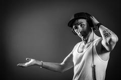 Dj header - black and white Stock Photos