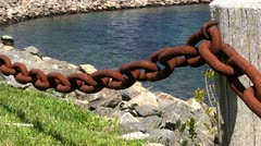 Rusty chain fence marina Cape Cod Stock Footage