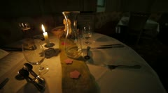 Dinner candle wedding Stock Footage