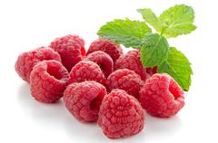 ripe red raspberry - stock photo