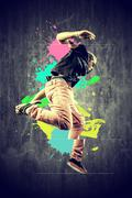 Dancer in retro style with splashes Stock Photos