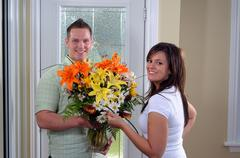 fresh flower arrangement - stock photo