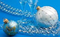 Christmas decoration and glasses Stock Photos