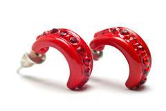 women's red earring - stock photo