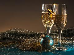 Christmas decoration and glasses of wine Stock Photos