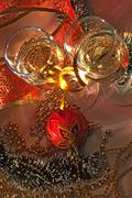 Glasses of wine and christmas decoration Stock Photos