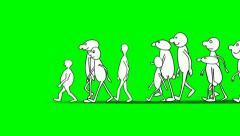 CARTOON CHARACTERS WALKS ON A GREEN SCREEN Stock Footage