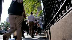 New York Streets Busy with Tourists Commuters Stock Footage