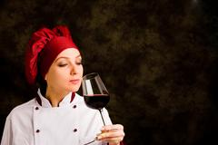 Chef somelier with wine Stock Photos