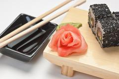 Traditional asian food sushi Stock Photos