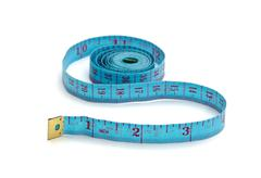 blue measuring tape - stock photo