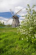 Spring landscape with windmill Stock Photos