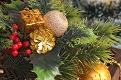 Christmas decoration in chest Stock Photos