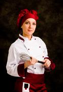 Chef with whip Stock Photos