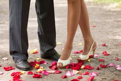 legs over petals - stock photo