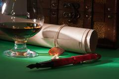 secret scroll with a wax seal - stock photo