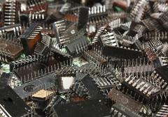pile old electronic chip - stock photo