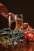 Stock Photo of glasses of wine and christmas decoration