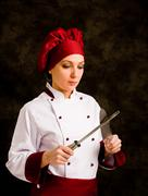 chef with knife - stock photo
