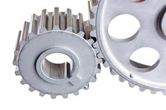 two gear coupled - stock photo