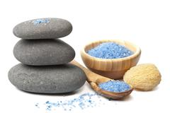 spa stones and herbal salt - stock photo