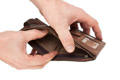 purse in hand - stock photo