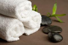 spa stones and towels - stock photo
