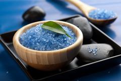 herbal salt and spa stones - stock photo