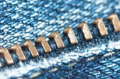 locking zipper on jeans - stock photo