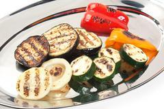 Dish of fried eggplant Stock Photos