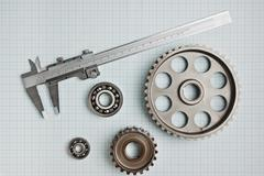 caliper with gears and bearings - stock photo