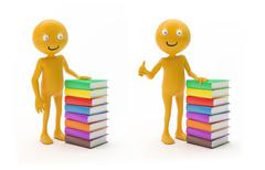 Smiley character with books Stock Illustration