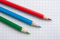 red  green blue pencils - stock photo