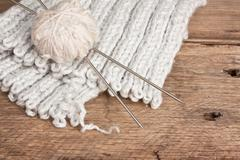 ball of wool and needles - stock photo