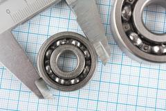 Calliper and a bearing Stock Photos