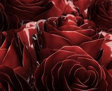 metallic roses - stock photo