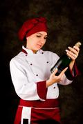 chef somelier - christmas - stock photo