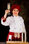 chef is toasting to the health - stock photo