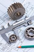 Stock Photo of mechanical drawing and pinion